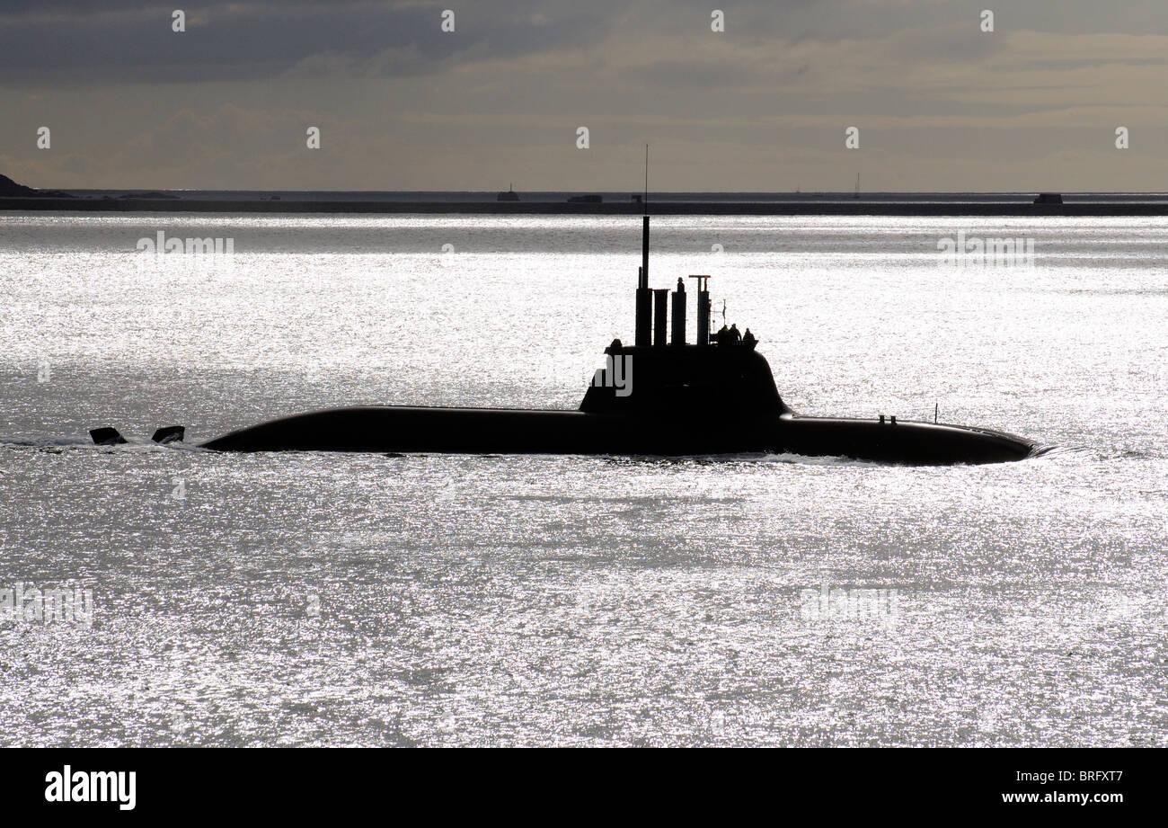 German Navy U33 submarine seen underway on the surface Plymouth Sound off the South Devon coast England UK - Stock Image
