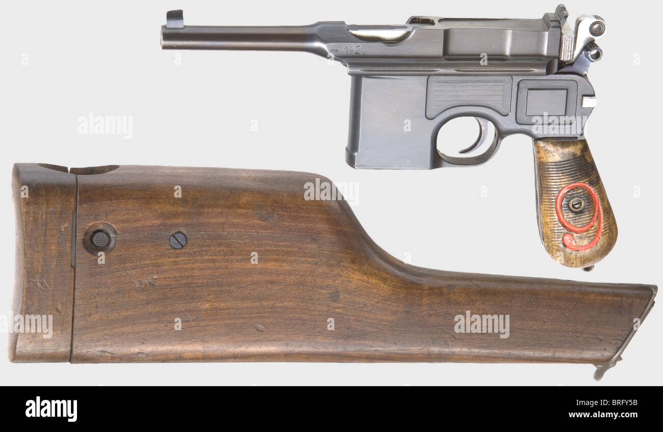 A Mauser C 96/16, Reichswehr, calibre 9 mm Parabellum, no. 22465. Matching numbers including grip panels, final - Stock Image