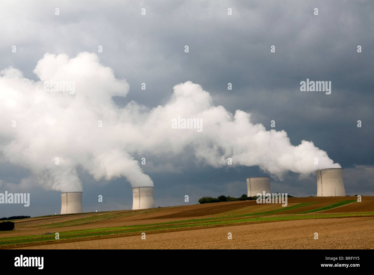 The Cattenom Nuclear Power Plant located in the Cattenom commune along the Moselle River in France. - Stock Image