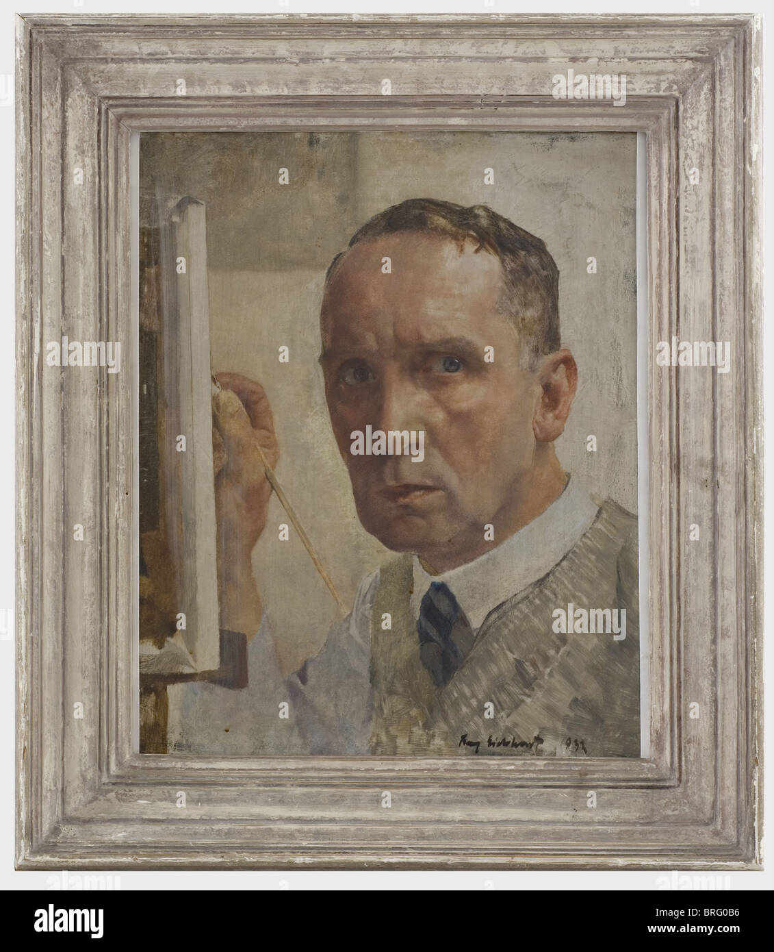 Franz Eichhorst (1885 - 1948), a self portrait (1932) Oil on wood, signed and dated 'Franz Eichhorst 1932' - Stock Image