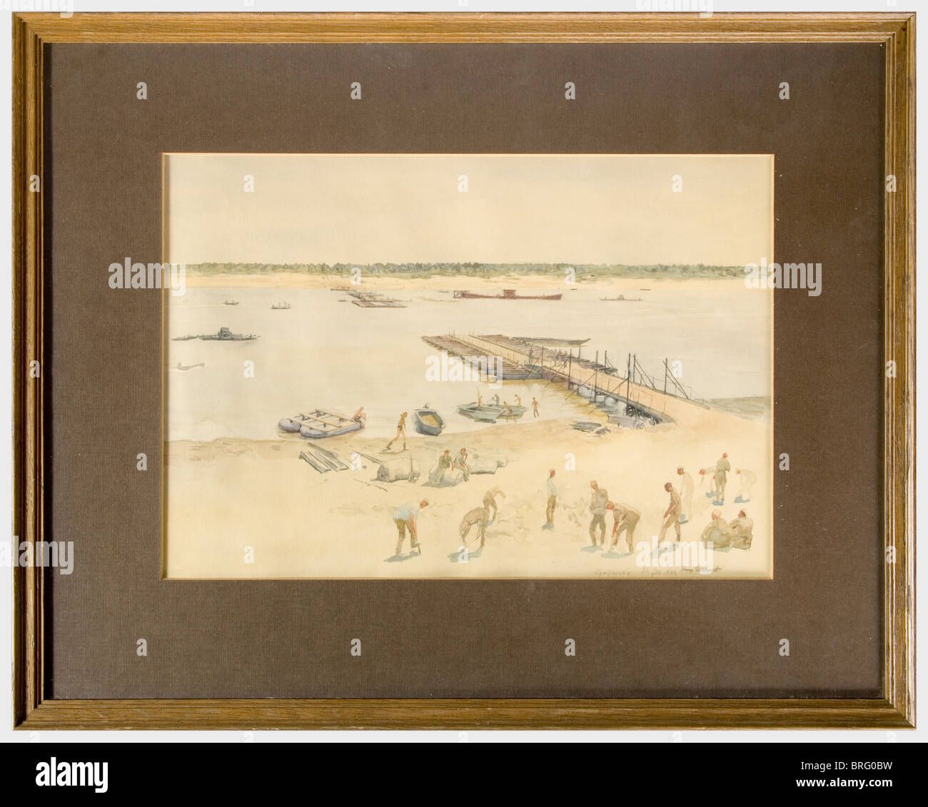 Franz Eichhorst (1885 - 1948), Zymljanska Large-format watercolour study. Signed, dated and titled 'Franz Eichhorst - Stock Image