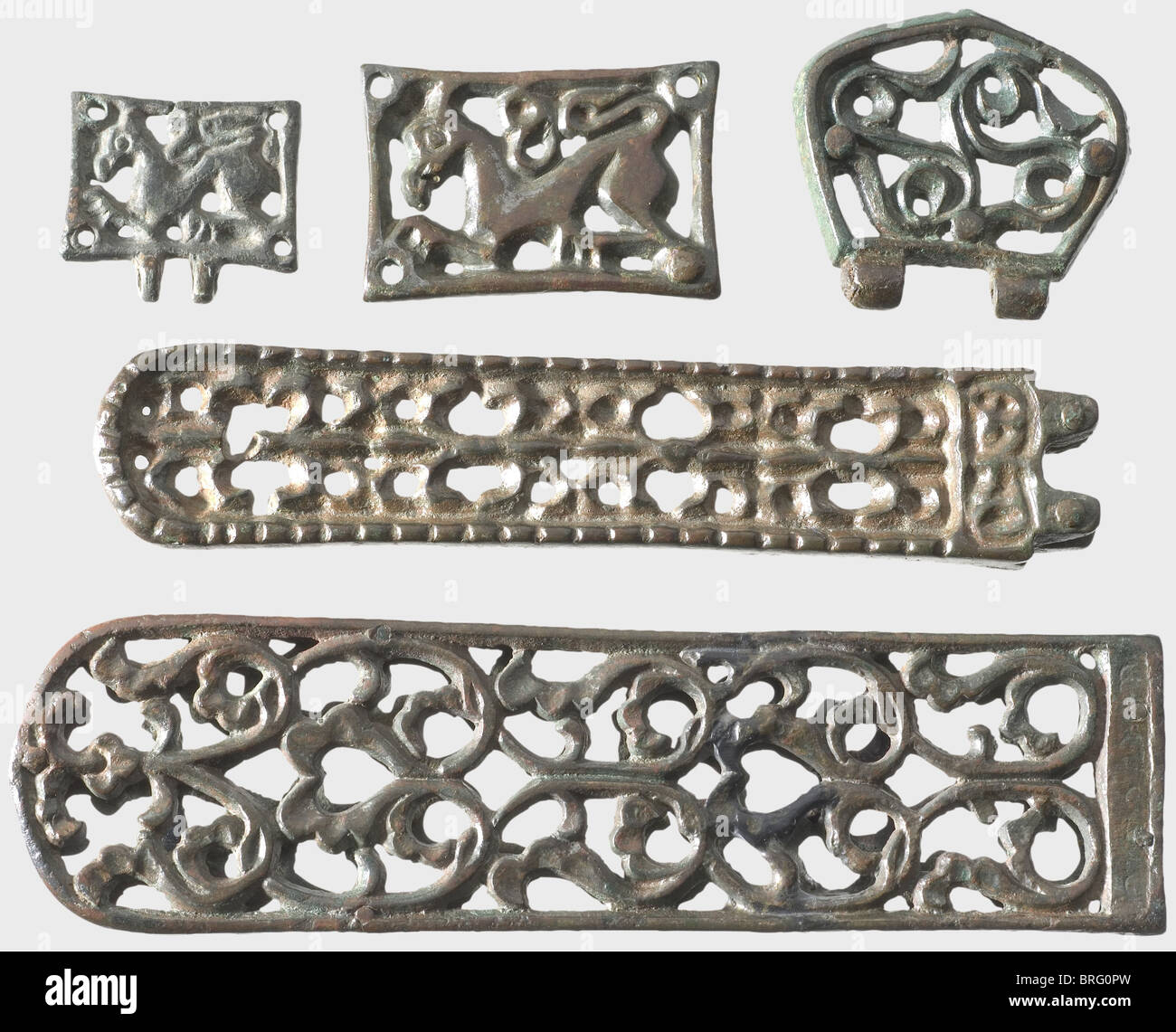 A set of Avar relics, Southeast Europe, 5th/6th century A.C. Bronze with greenish-brown patina. 22 different pieces, Stock Photo