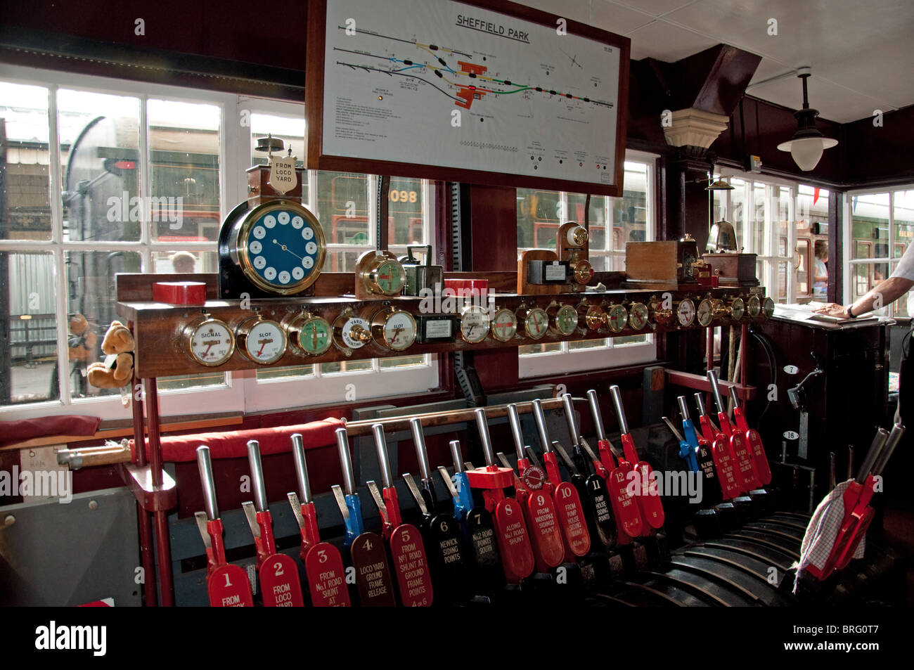 Signal Box Control Levers - Stock Image
