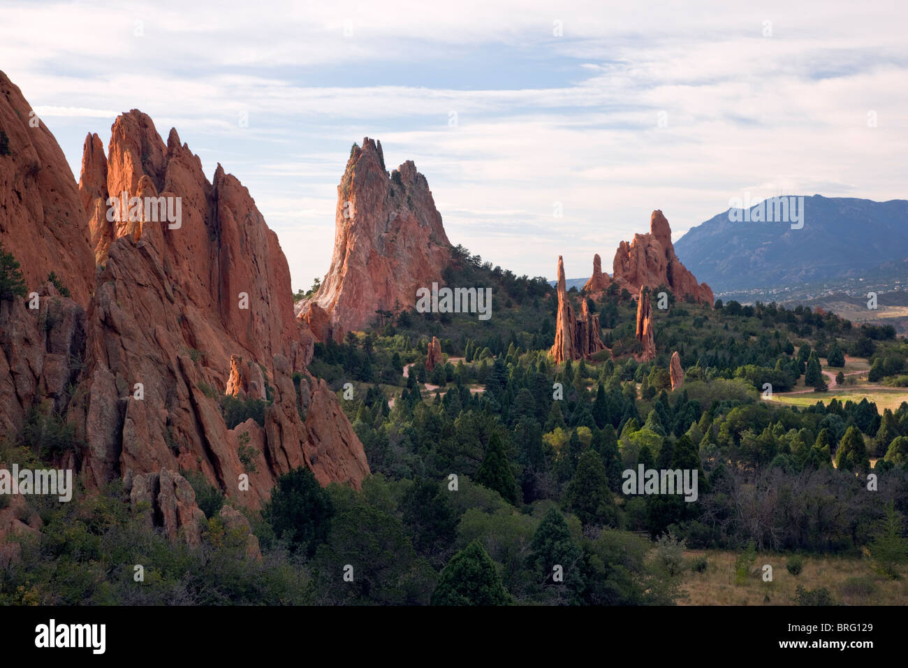 Cathedral Spires and Three Graces, Garden of the Gods, Colorado Springs, Colorado, USA - Stock Image