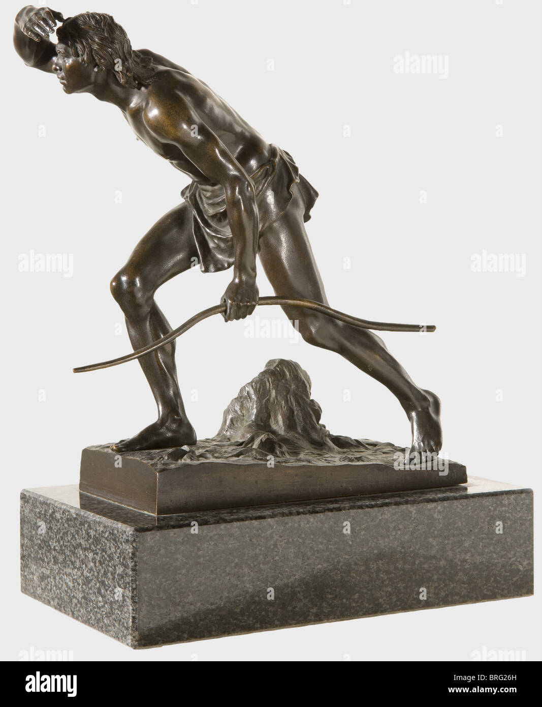 Josef Drischler (1838 - 1917) - a prehistoric hunter., Patinated bronze, prehistoric hunter with loincloth, holding - Stock Image