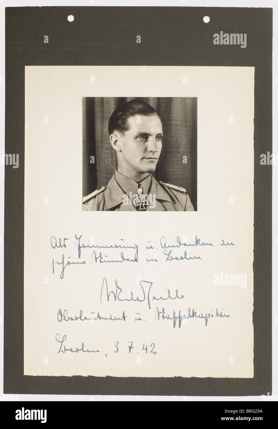 Hans-Joachim Marseille, a photograph with dedication Hand-written dedication in ink on the passepartout, 'Als - Stock Image