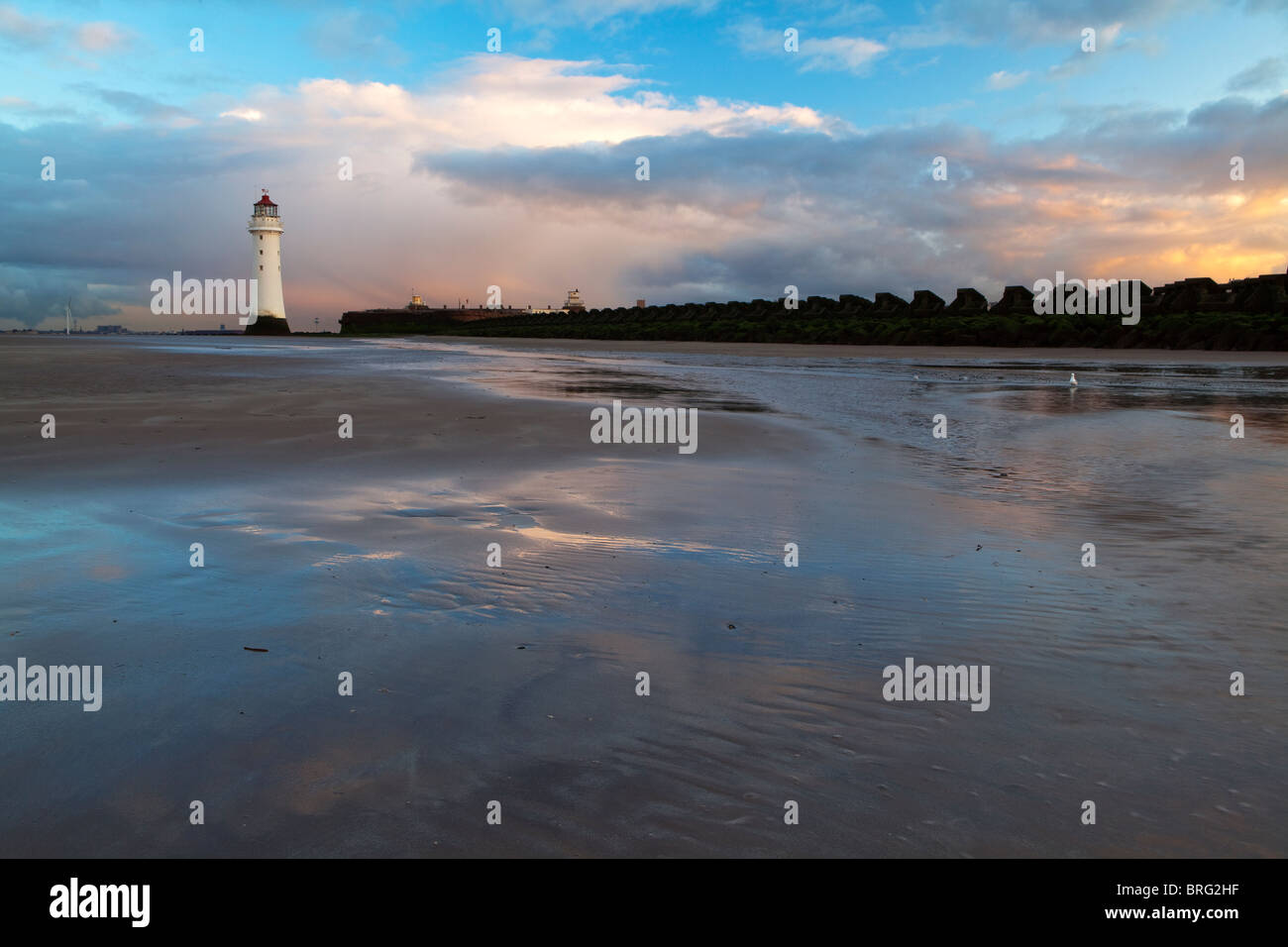 Sunset, New Brighton Lighthouse, Wirral - Stock Image