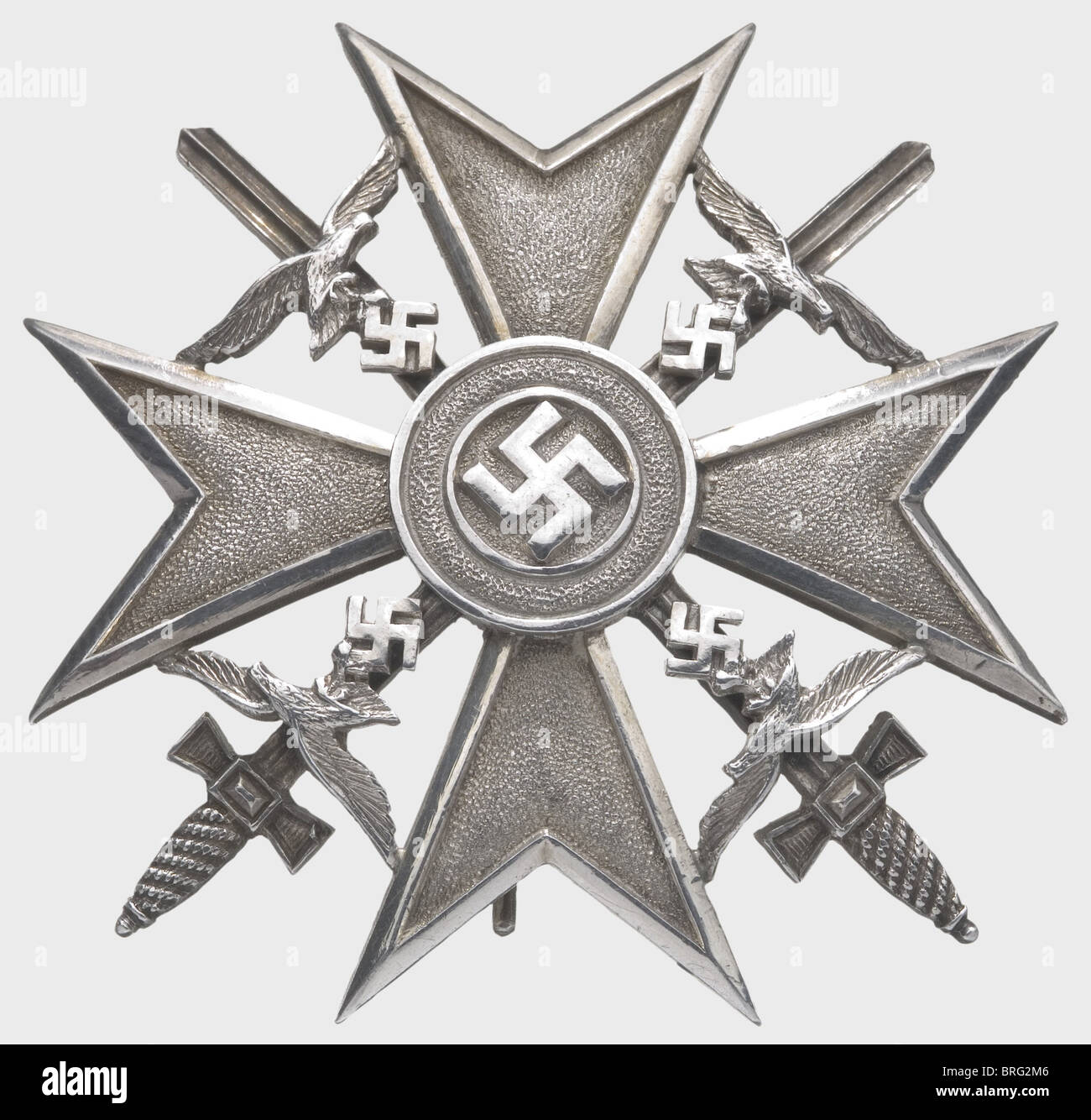 A Spanish Cross in Silver with Swords., Silver with separately applied eagles and medallion, bellied vertical attachment - Stock Image
