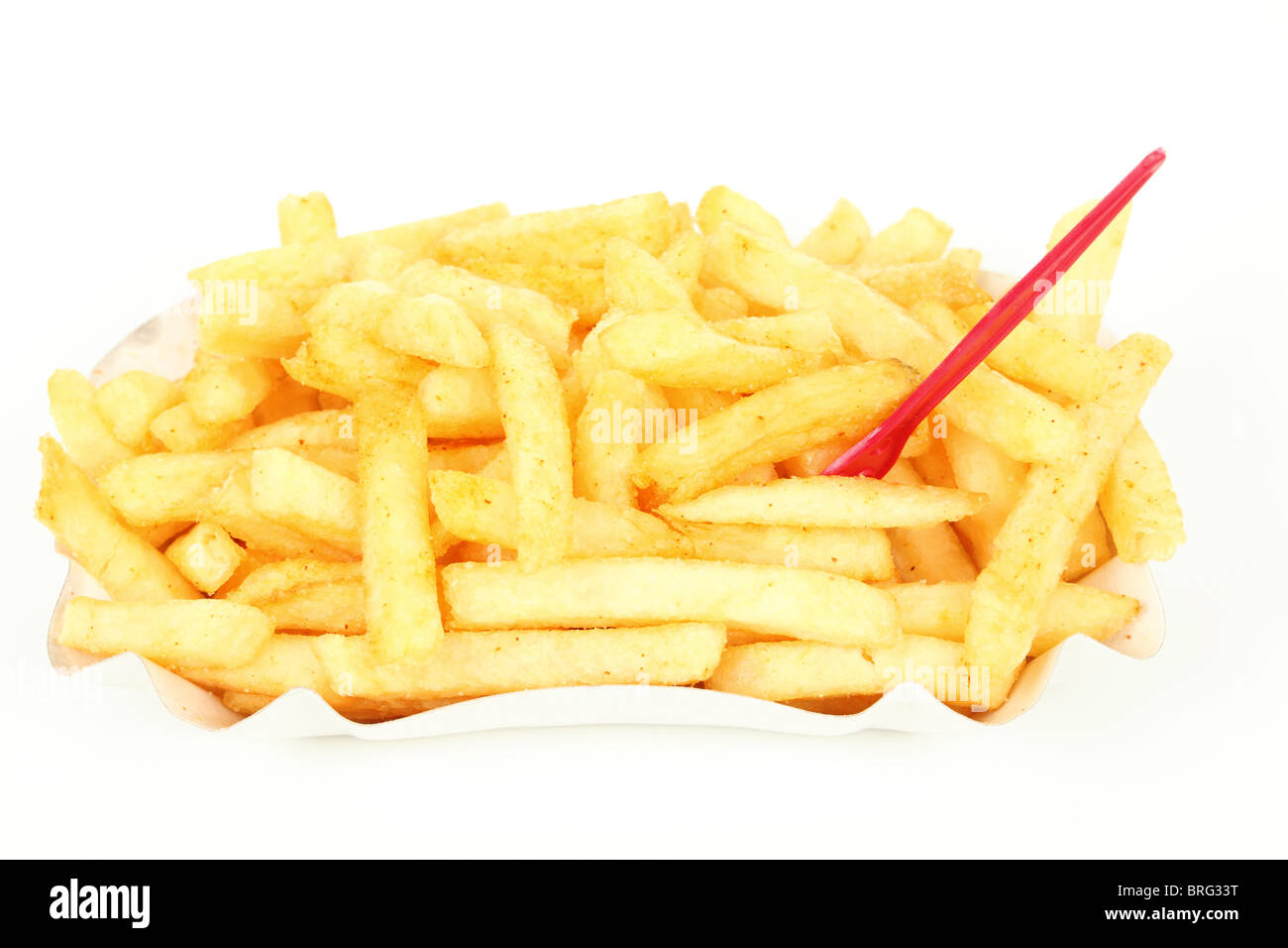 French fries isolated over white background - Stock Image