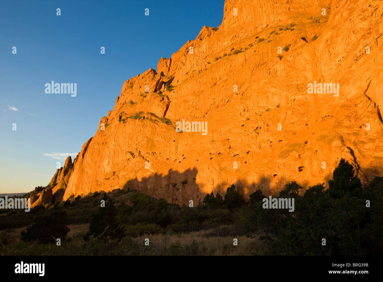 North Gateway Rock, Garden of the Gods. Years of erosion create unique sandstone formations, National Natural Landmark, Stock Photo
