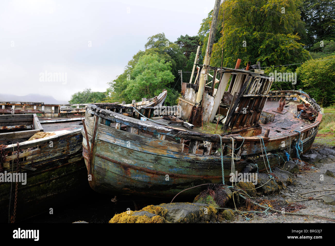 Derelict boat on the Isle of Mull-1 - Stock Image