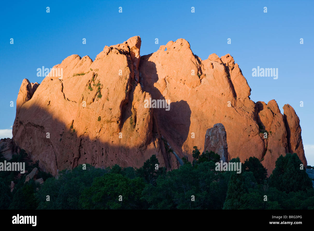 North Gateway Rock; years of erosion leave sandstone formations in the Garden of the Gods, Colorado Springs, Colorado, - Stock Image