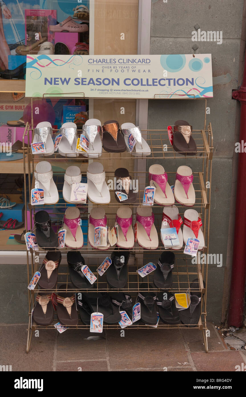 cae8d5b56330f Shoes for sale on an outdoor stand outside a shoe shop store in the Uk -