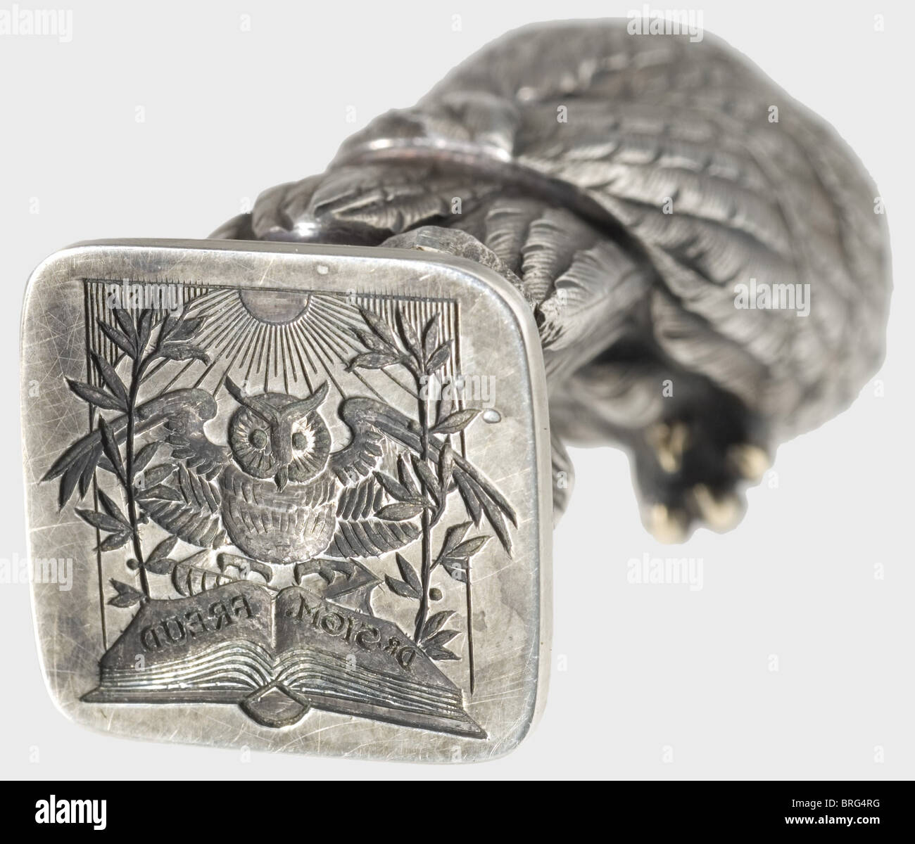 Dr. Sigmund Freud (1856 - 1939), a silver seal of the physician and founder of psychoanalysis The handle in the - Stock Image