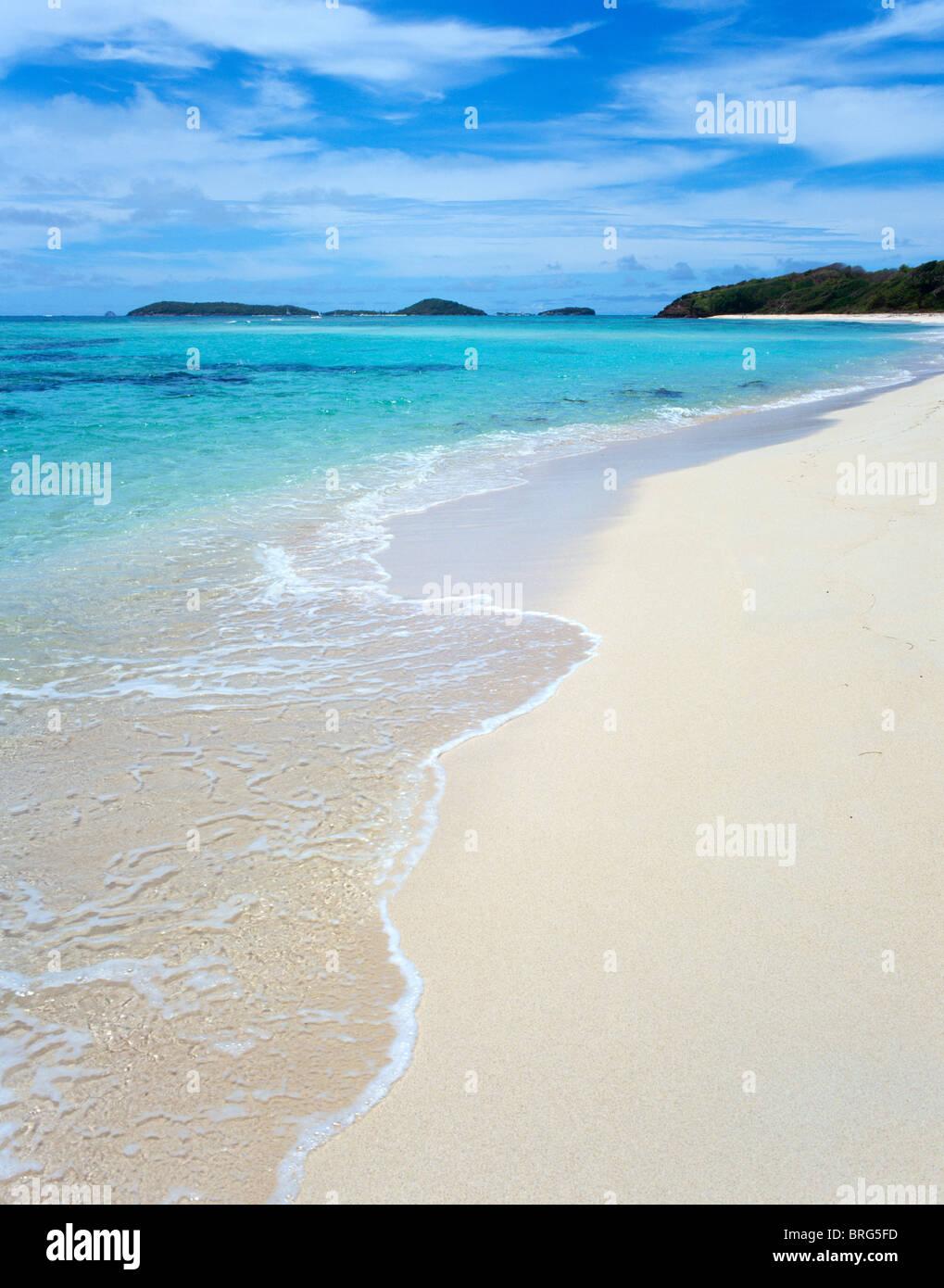 Deserted beach on Mayreau, The Grenadines, Caribbean, West Indies - Stock Image