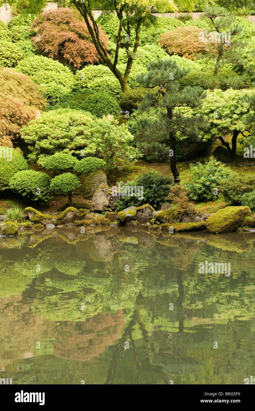 Portland Japanese Garden Portland Oregon - Stock Image