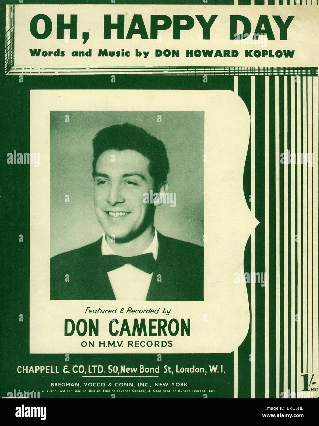 DON CAMERON   UK singer on sheet music of the huge 1952 hit Oh, Happy Day  by US songwriter Don Koplow Stock Photo