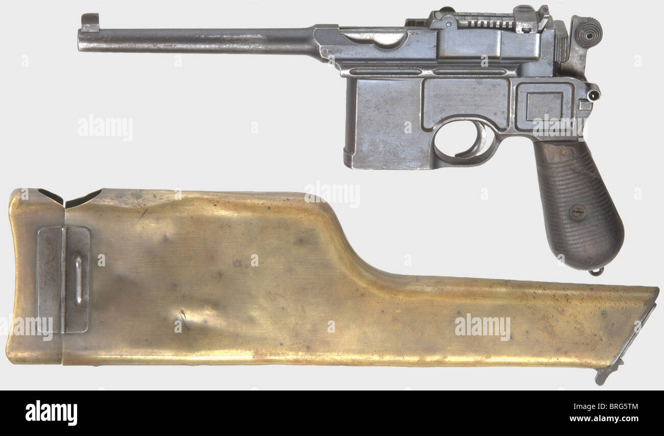 A Mauser C 96 'Cone Hammer', calibre 7.63 mm, no. 6411. Matching numbers except for magazine well cover - Stock Image