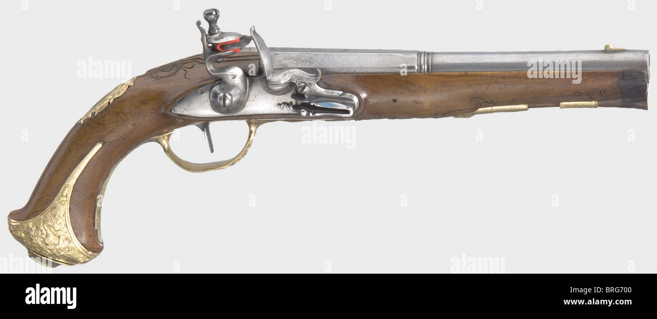 A Bohemian flintlock pistol, circa 1760. Two-stage barrel, octagonal then round after a baluster, with smooth bore - Stock Image