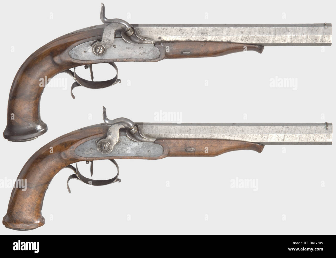 A pair of percussion pistols, Liège, 1st half of the 19th century. Octagonal rifled barrels in 16 mm calibre - Stock Image