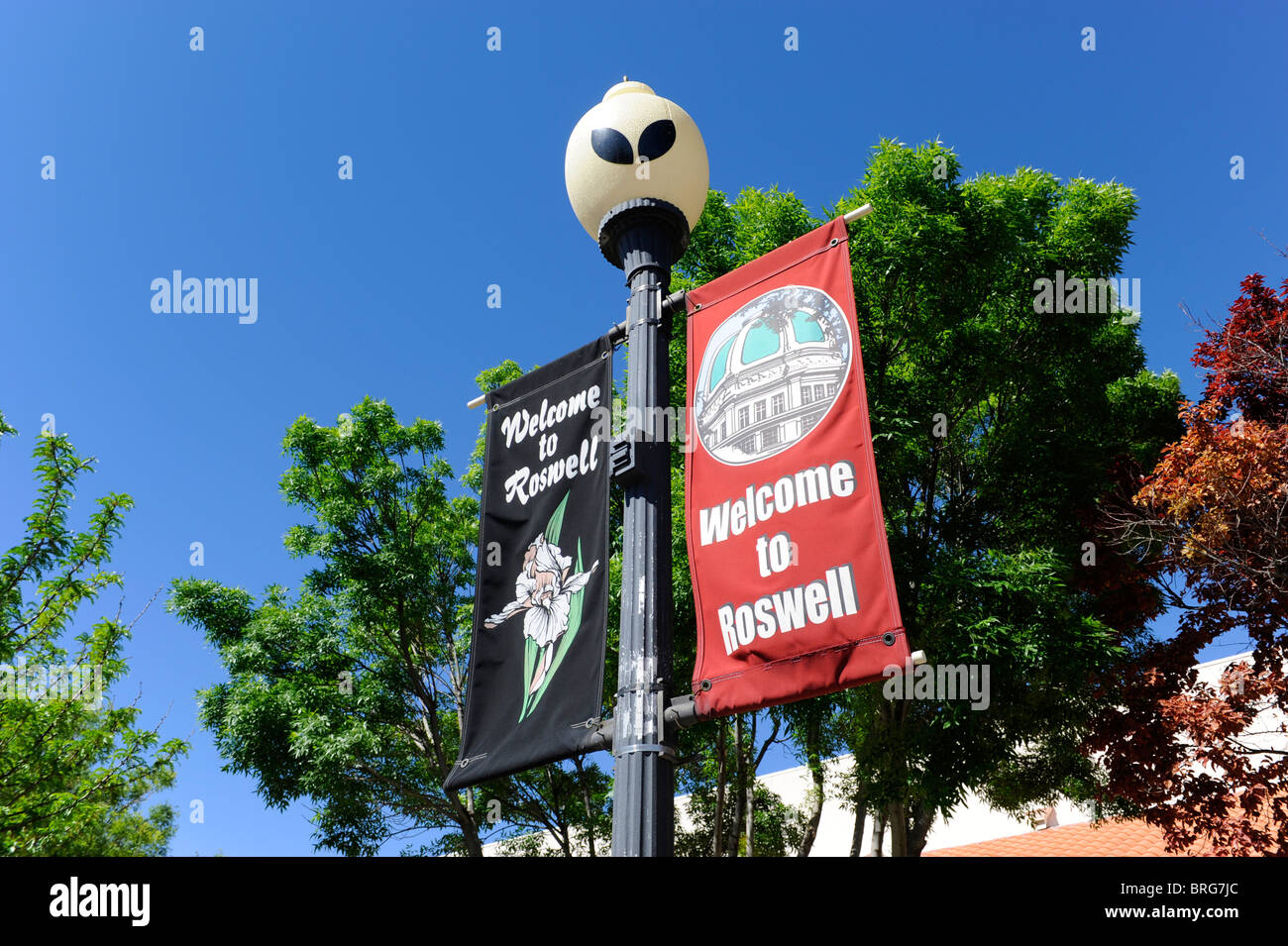 UFO Lampposts in Roswell New Mexico  - Stock Image