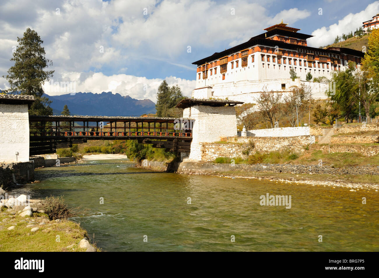 Paro Dzong and bridge, Bhutan - Stock Image