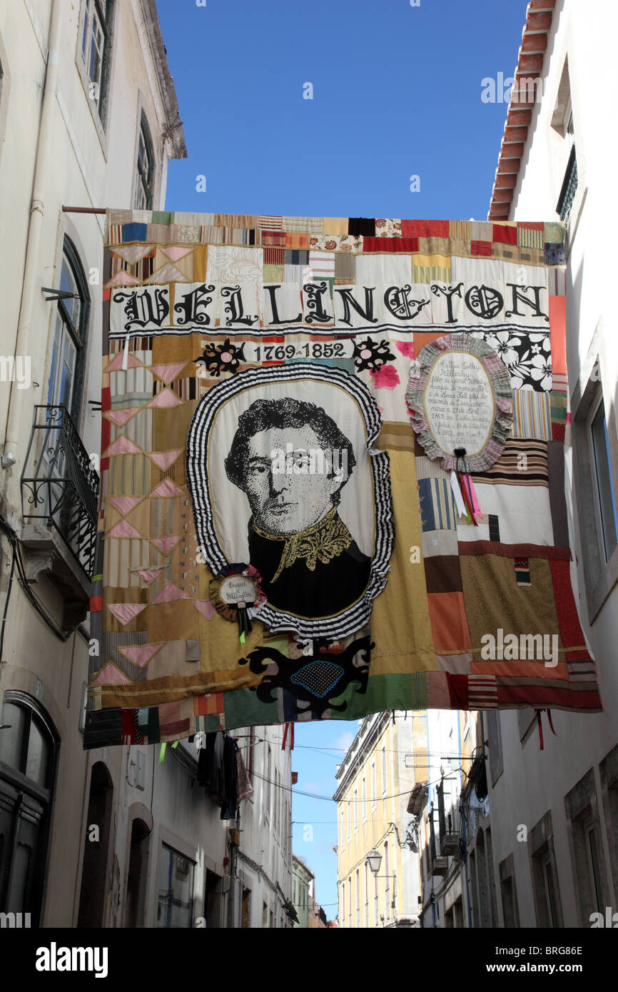 Duke of Wellington patchwork quilt, Torres Vedras, Portugal - Stock Image