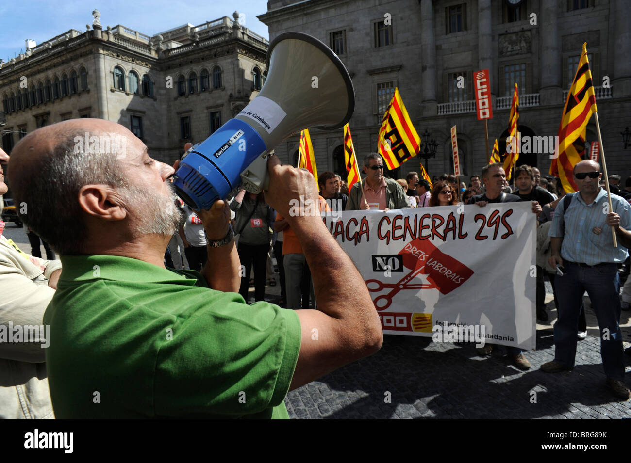 Striking workers of media writings of the Unions CCOO,UGT,SPC, UPIFC in Barcelona at he occasion of the general - Stock Image
