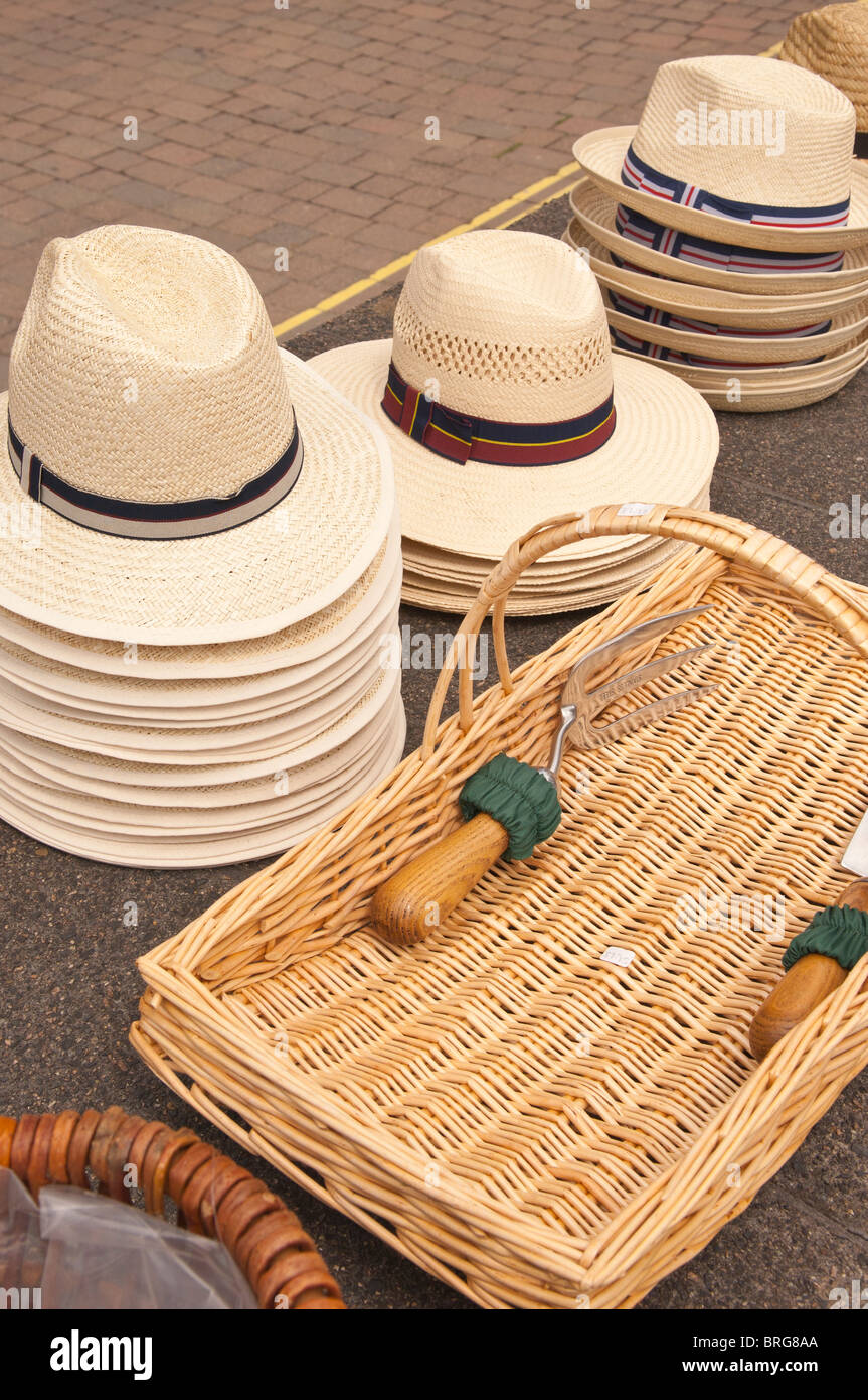Straw hats for sale in the Uk - Stock Image