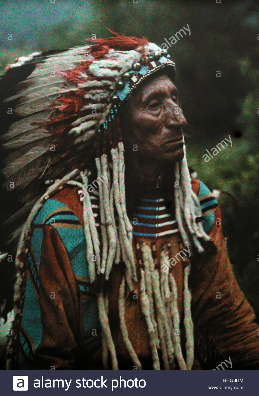 Portrait of a Flathead chief adorned in strips of the popular ermine. - Stock Image