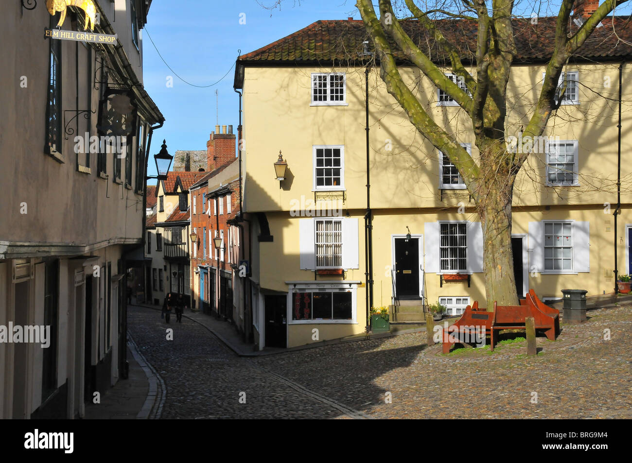 Cobbled street, Old Norwich - Stock Image