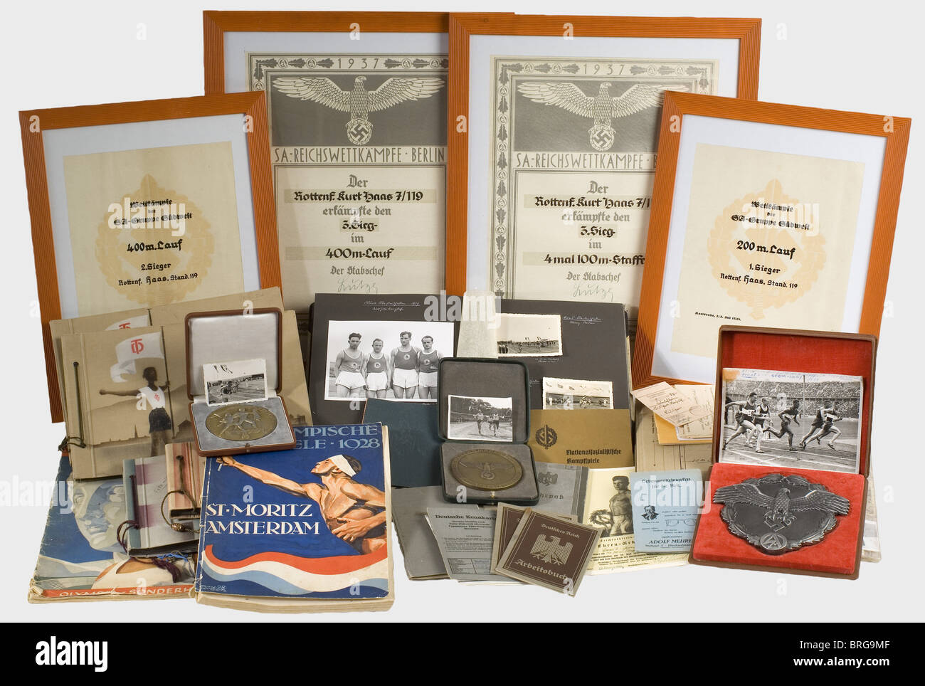 Sporting awards and certificates, of a Rottenführer Two large ornate certificates for the SA-Reichs Competition - Stock Image