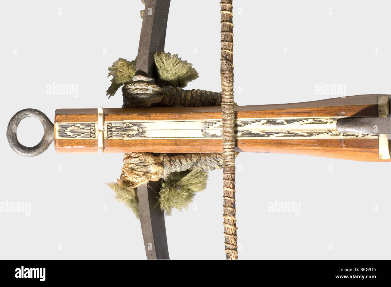A German hunting/sport crossbow, circa 1750 A heavy iron prod with the original twisted hemp bowstring and green - Stock Image