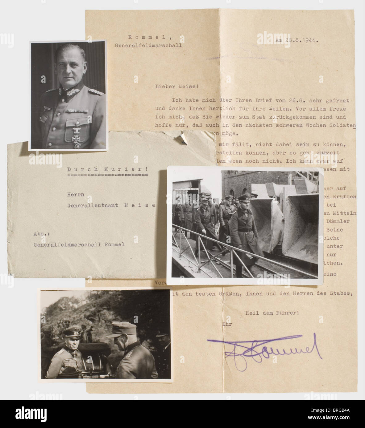 Field Marshal Erwin Rommel, a personal letter to Major General Meise dated August 28, 1944 After his injury Rommel - Stock Image
