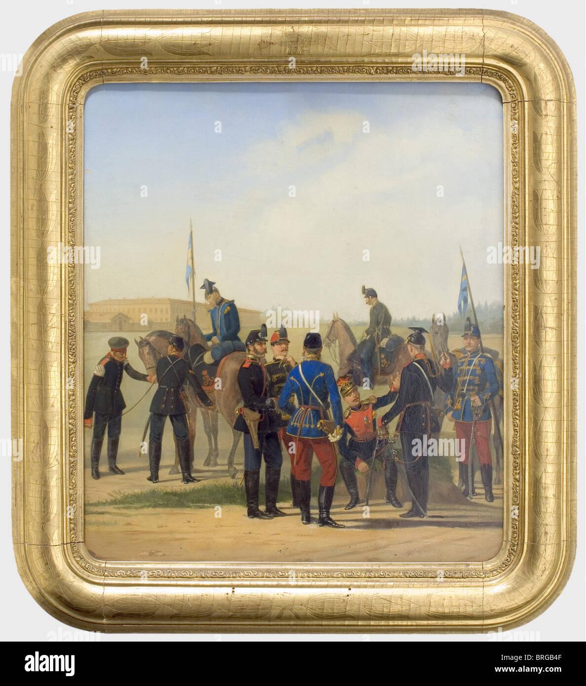 The Russian Army, ca. 1850/60, circle around Karl Karlovitch Piratsky (1813 - 1871) Oil on lithographed artwork - Stock Image