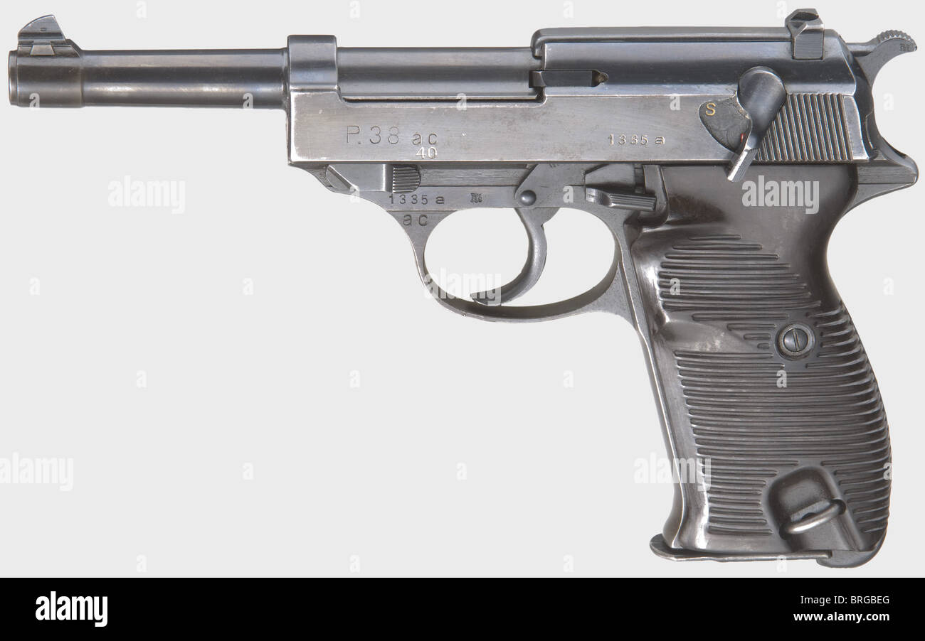 A Walther P 38, code 'ac 40 added', calibre 9 mm Parabellum, no. 1335a. Matching numbers. Almost bright - Stock Image