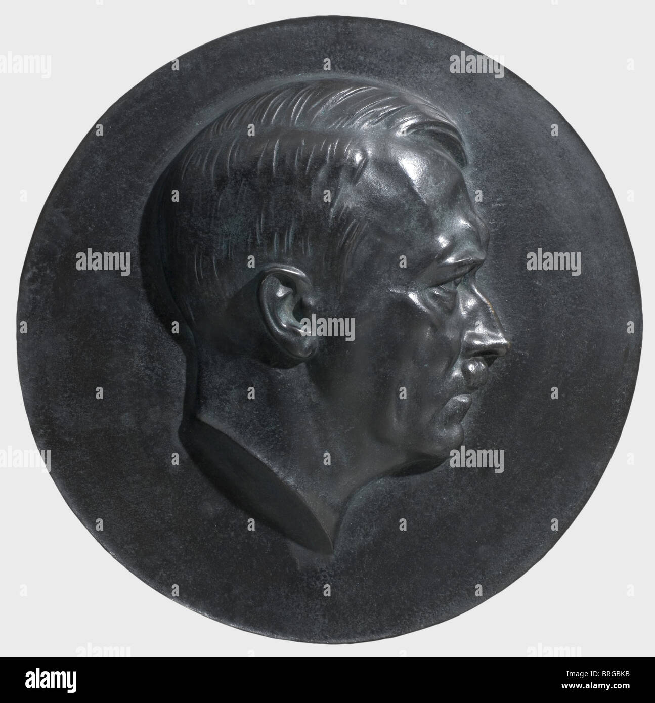 Arno Breker (1900 -1991), a portrait medallion of Adolf Hitler Bronze, deep green patina. No date, unsigned, diameter - Stock Image