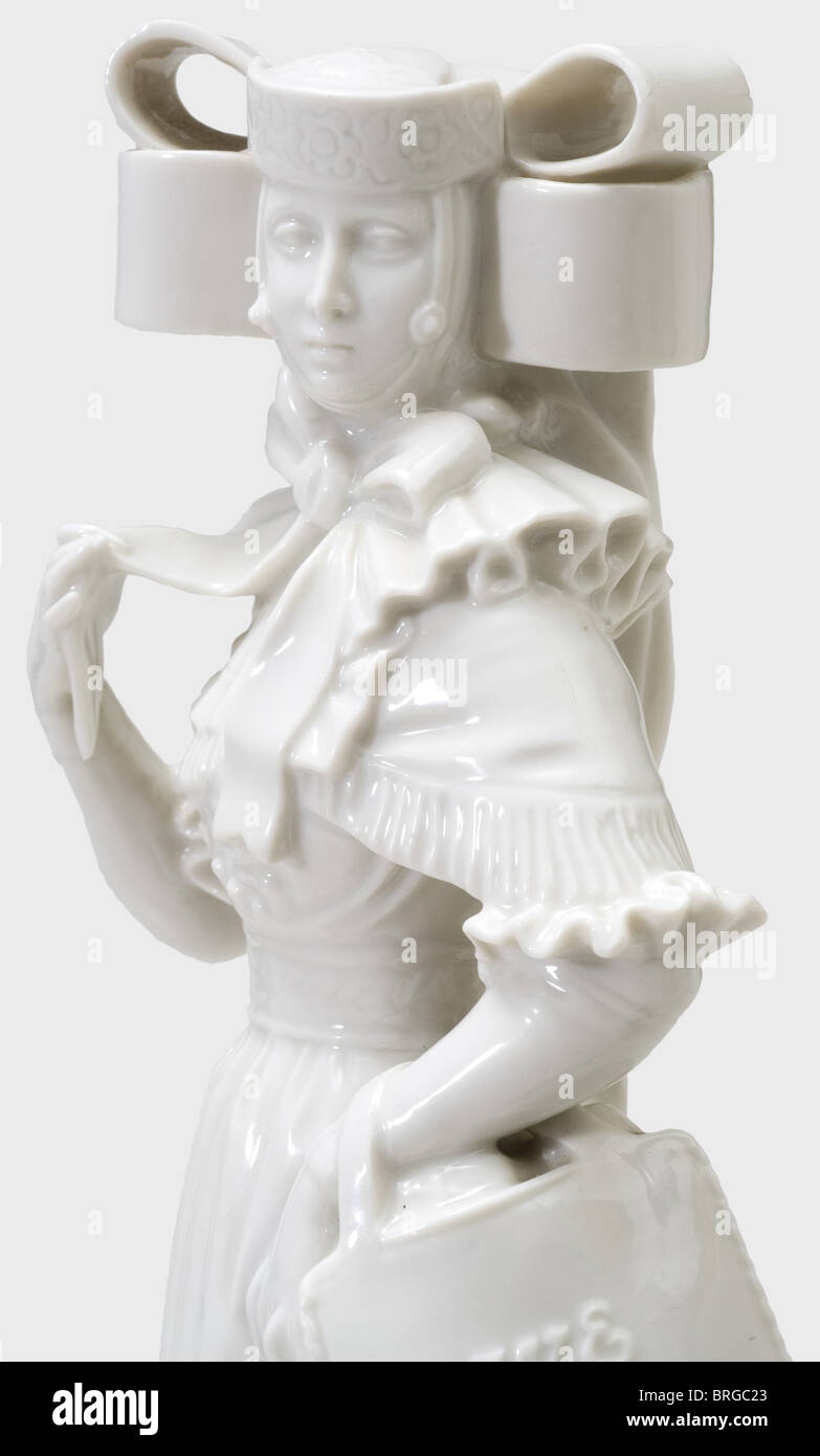 A Bückeburg peasant woman, Allach Porcelain Factory Designed by Richard Förster, Model Number '45'. - Stock Image