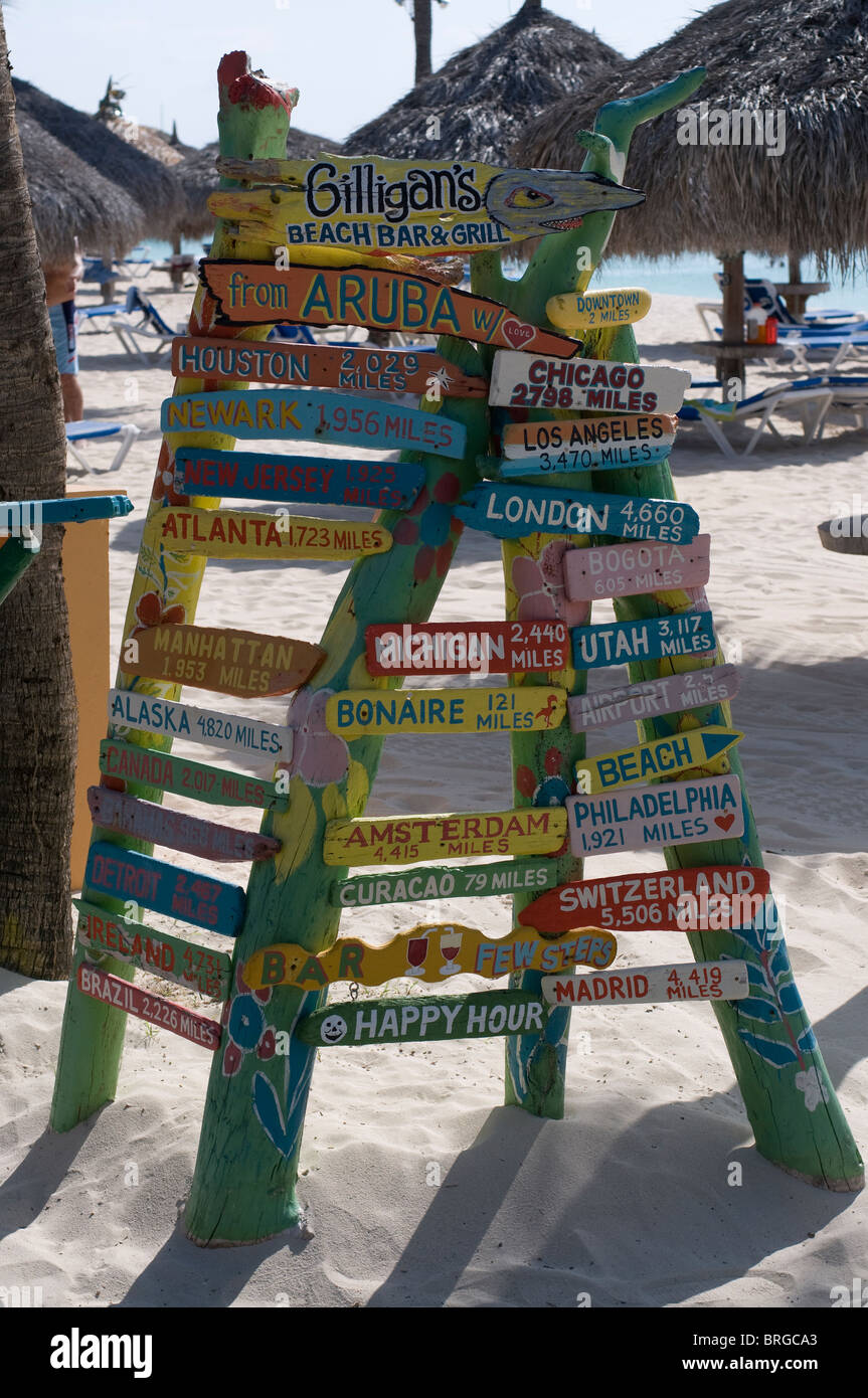 Signs in Aruba showing distances to other locations. - Stock Image