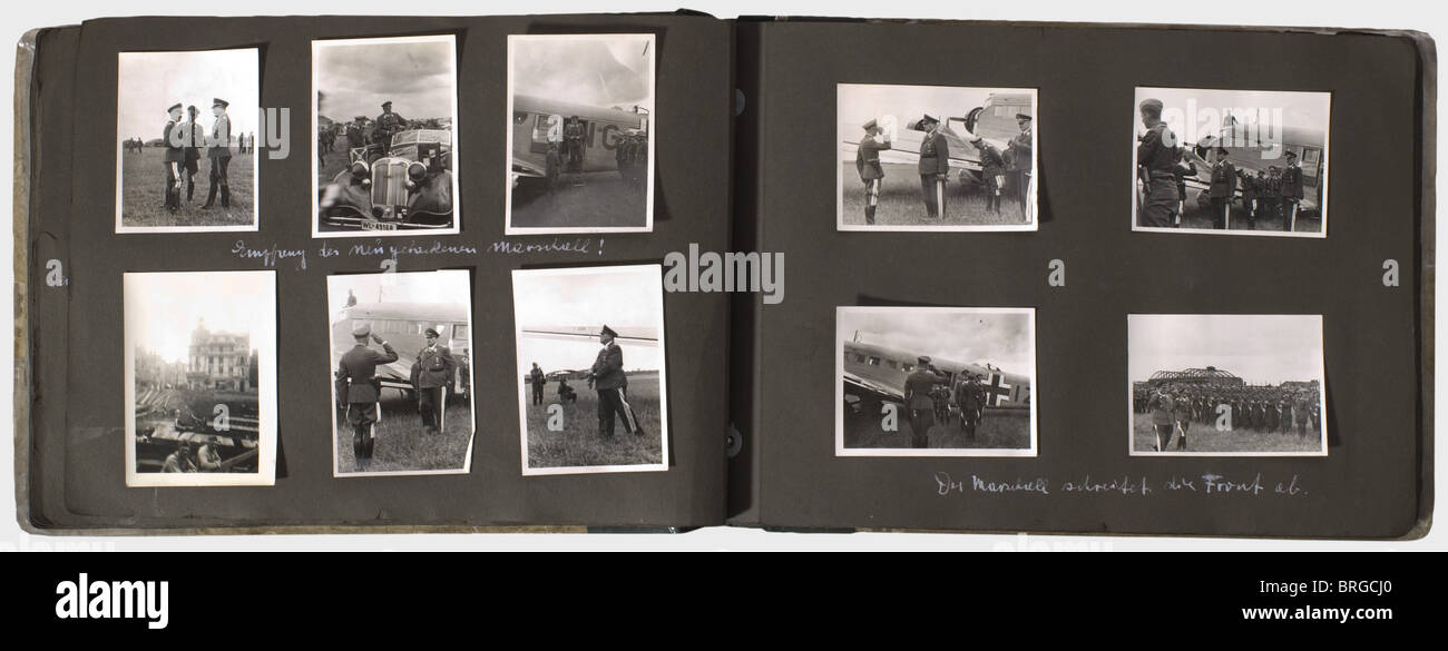 A memento album for a Luftwaffe staff officer of the 3rd Luftflotte, with 133 photos of different sizes, some inscribed Stock Photo
