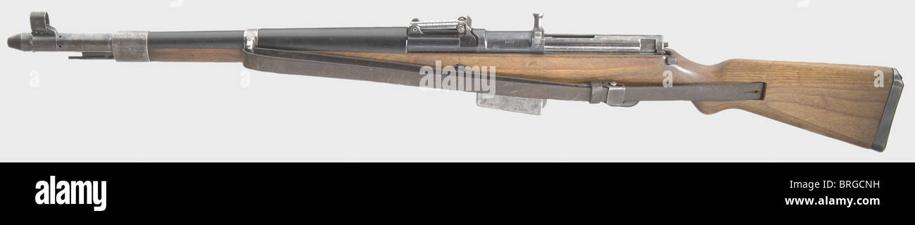 """A self-loading rifle G 41(W), code """"ac 43"""", gas nozzle loader, calibre 8 x 57, no. 1207. Completely matching numbers. Stock Photo"""