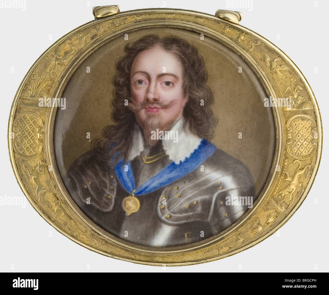 King Charles I (1600 - 1649), a miniature box, England, middle of the 18th century Oval snuffbox, silver, gilded. - Stock Image
