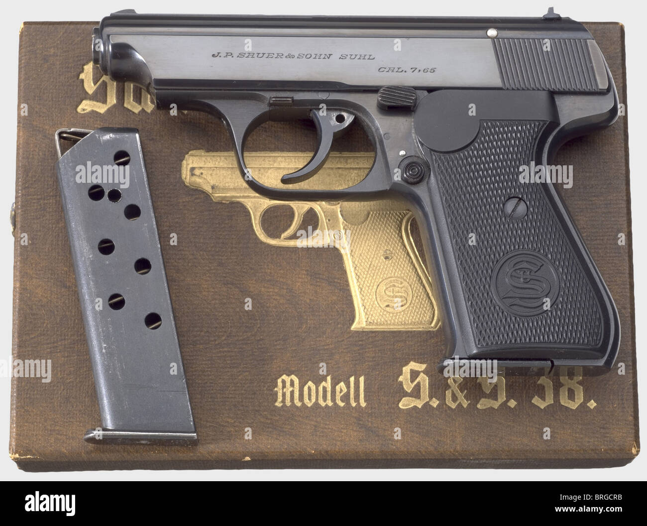 A Sauer & Sohn Mod. 38 in cardboard box, calibre 7.65 mm, no. 260300. Matching numbers. Bright bore. Proof mark: - Stock Image