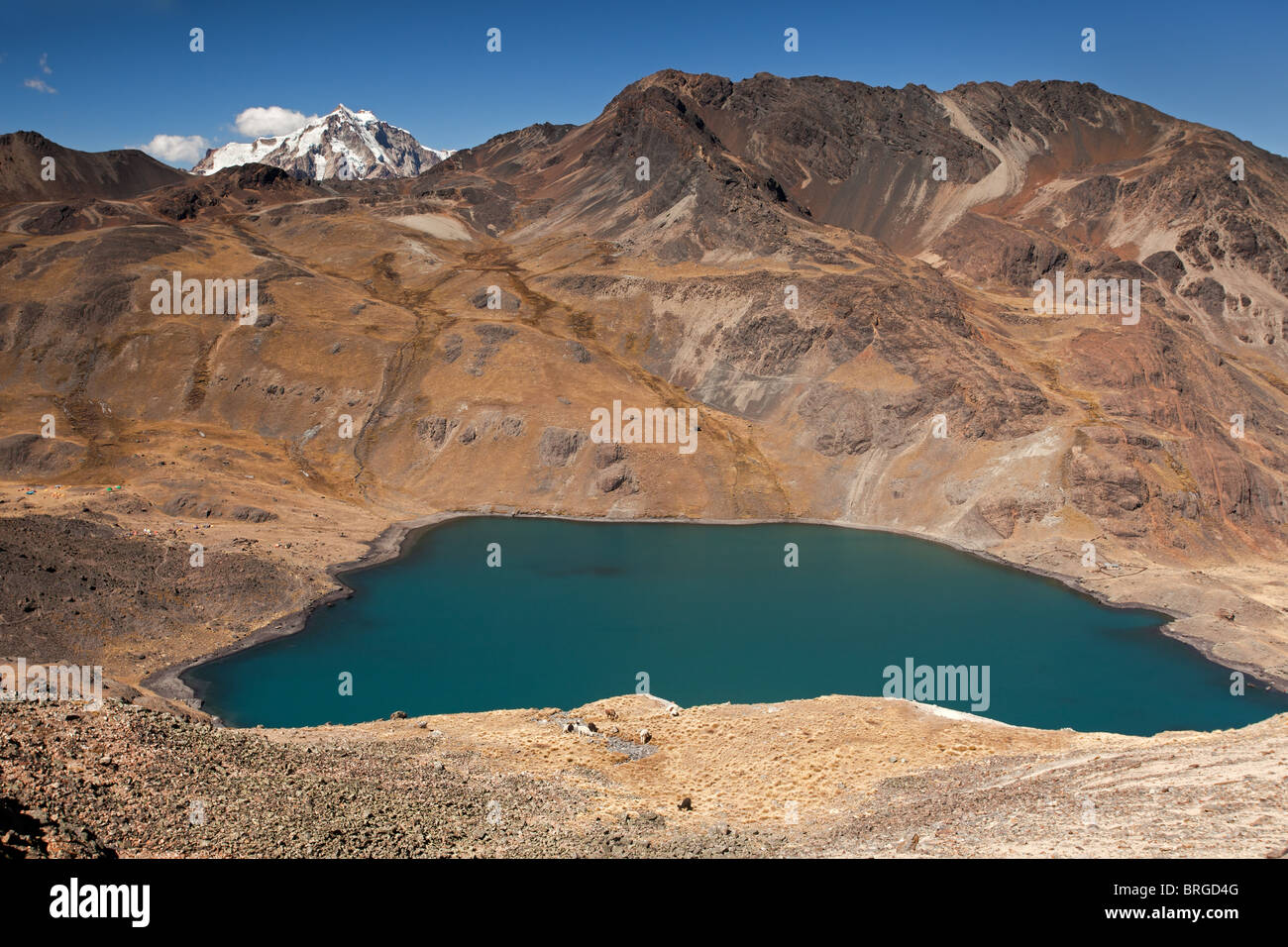 Cordillera Rea: Condoriri Mountains: Small Mountain Lake - Stock Image