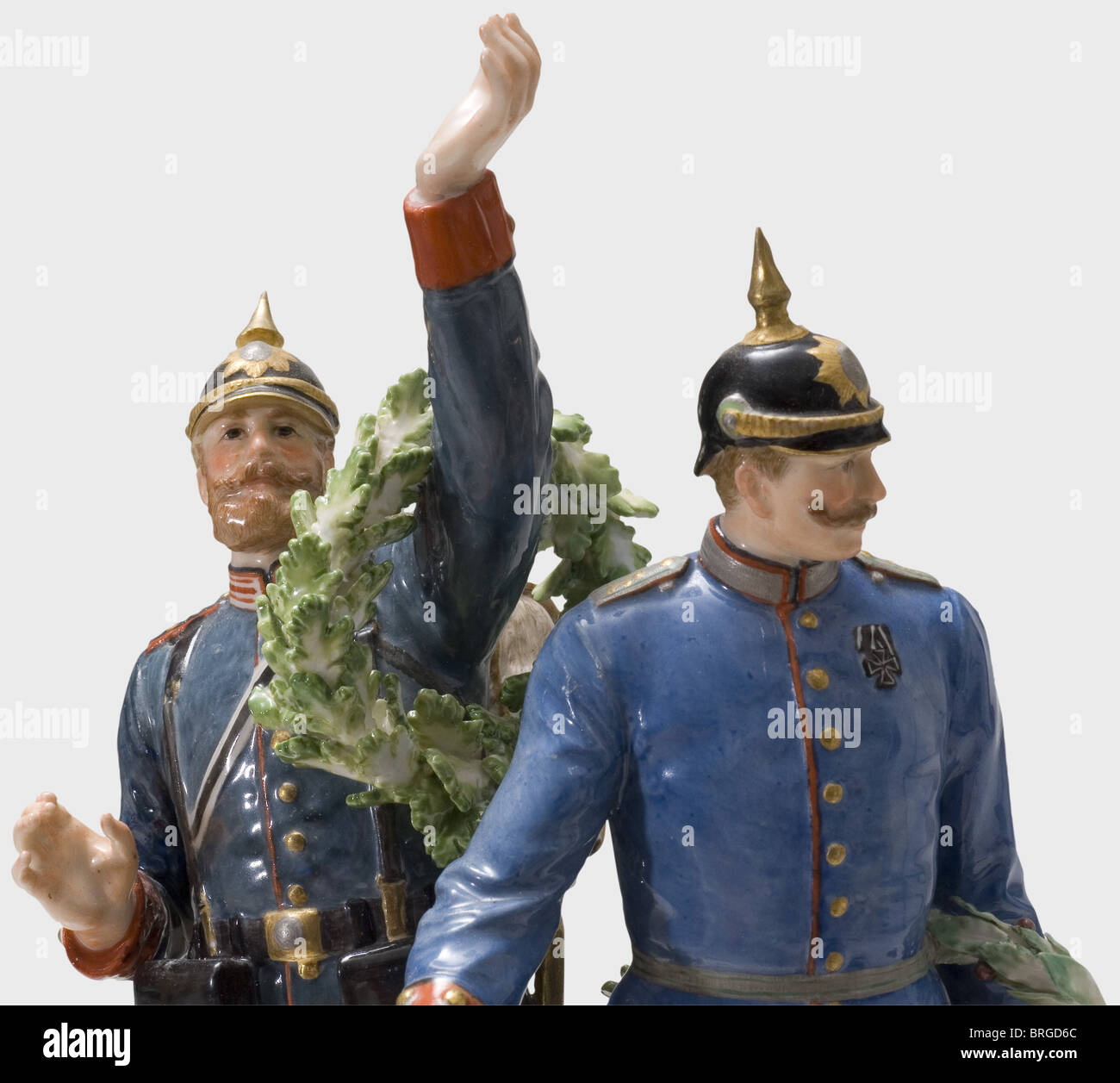 The Glorious Homecoming of the Victors 1871, a group of figurines manufactured by Meissen Porcelain, colour-composed, - Stock Image