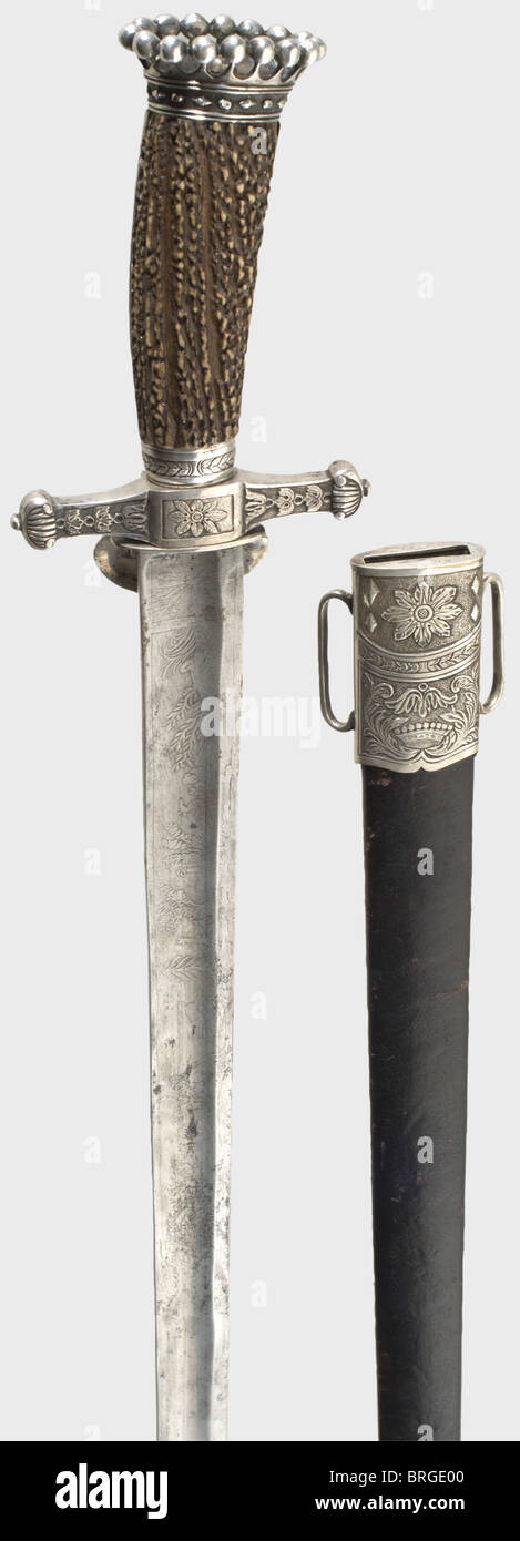 A splendid hunting hanger with a silver hilt, J.H. Haussman, Vienna 1833 The fluted, single-edged blade is richly - Stock Image