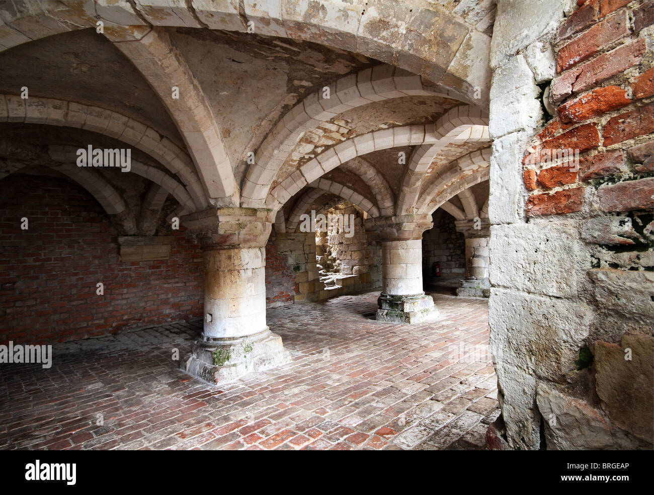 Norman stonework in north Yorkshire from medieval times. - Stock Image