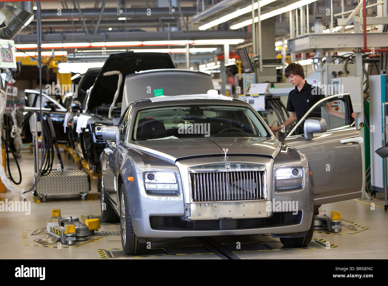 Rolls Royce factory in Goodwood, West Sussex UK Production line for Rolls Royce Phantom and Ghost cars. - Stock Image