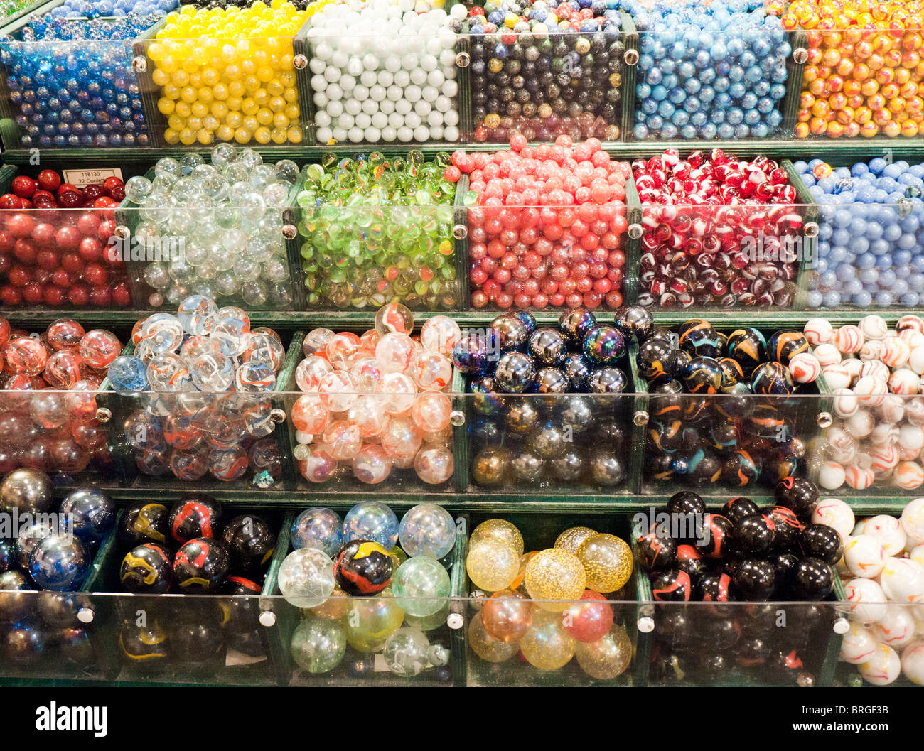 Marbles for sale at the House of Marbles in Devon Britain - Stock Image