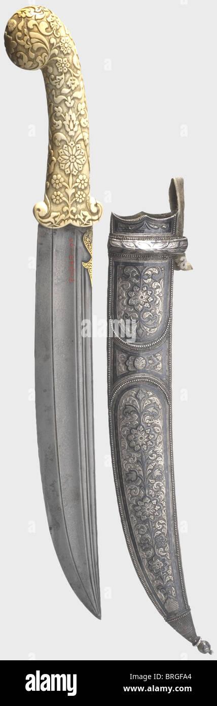A Caucasian khanjar with ivory grip, circa 1900 Blade of ...